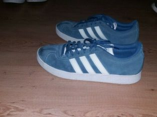 Adidas Mens Blue/White Suede Vlneo Court Trainers