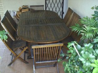 Teak outdoor 8 seater table and chairs