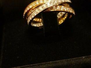 18ct gold, tricolour diamond Russian wedding band